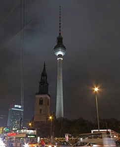 Berlin - On Unter den Linden looking back towards Fernsehturm TV tower