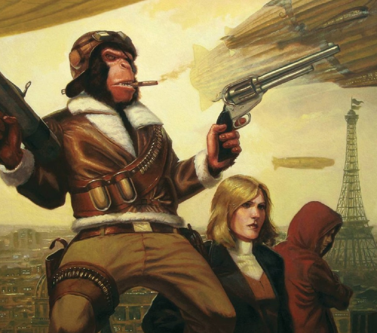Cover of Ack Ack Macaque by British science fiction steampunk author Gareth L Powell published by Solaris