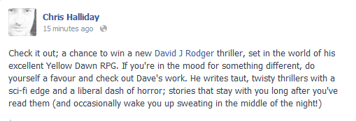 Fan endorsement of The Social Club and Yellow Dawn post-apocalyptic sciecne fiction stories by David J Rodger