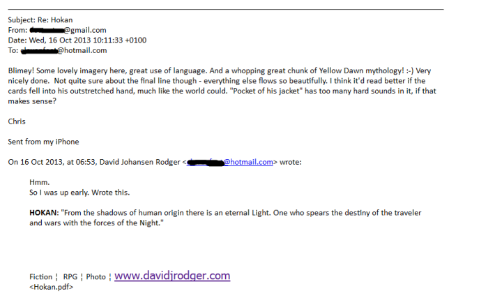 Fan feedback review on science fiction dark fantasy short story Hokan by David J Rodger