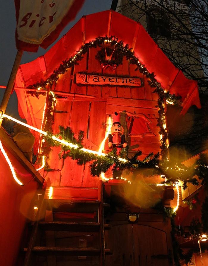 gypsy caravan as a bar in German Christmas market - Berlin