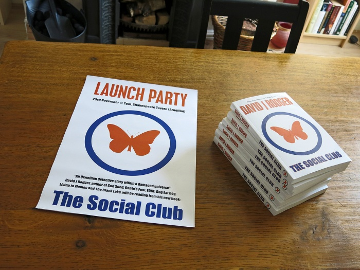 The Social Club a sci-fi dark fantasy novel set in the post-apocalyptic world of Yellow Dawn - launch party poster