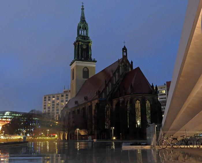 Travel photo - church on Alexanderplatz below Fernsehturm TV tower - Berlin