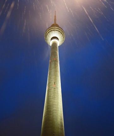 Travel photo - Fernsehturm TV tower in the rain at night - Berlin