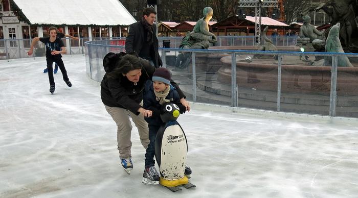 Travel photo Ice rink at Christmas Market near Alexanderplatz Berlin