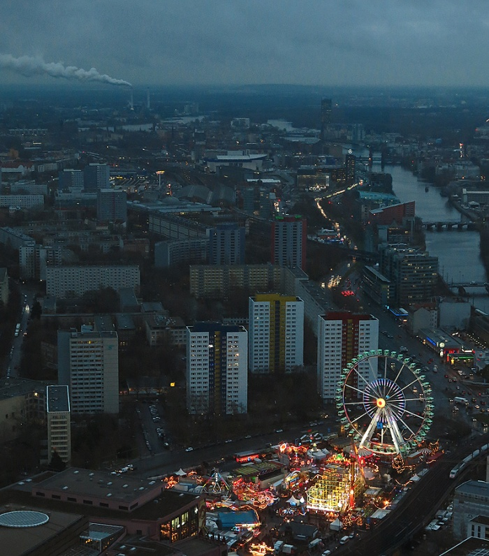 Travel photo view around Alexanderplatz from Fernsehturm TV tower - Berlin