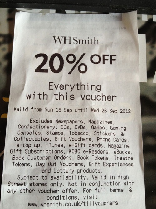 WHSmith Voucher marketing FAIL