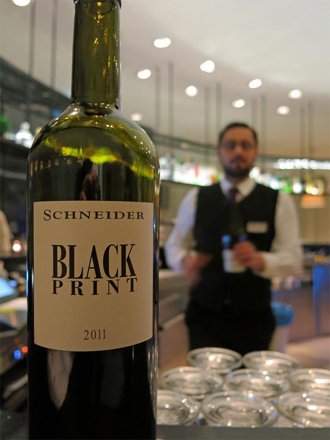 Wyndham Grand Hotel Berlin - bottle of Black Print 2011 from Markus Schneider
