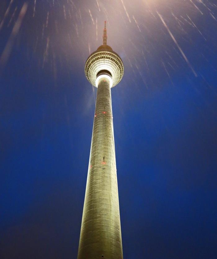 Berlin - Fernsehturm - TV tower at night in the rain