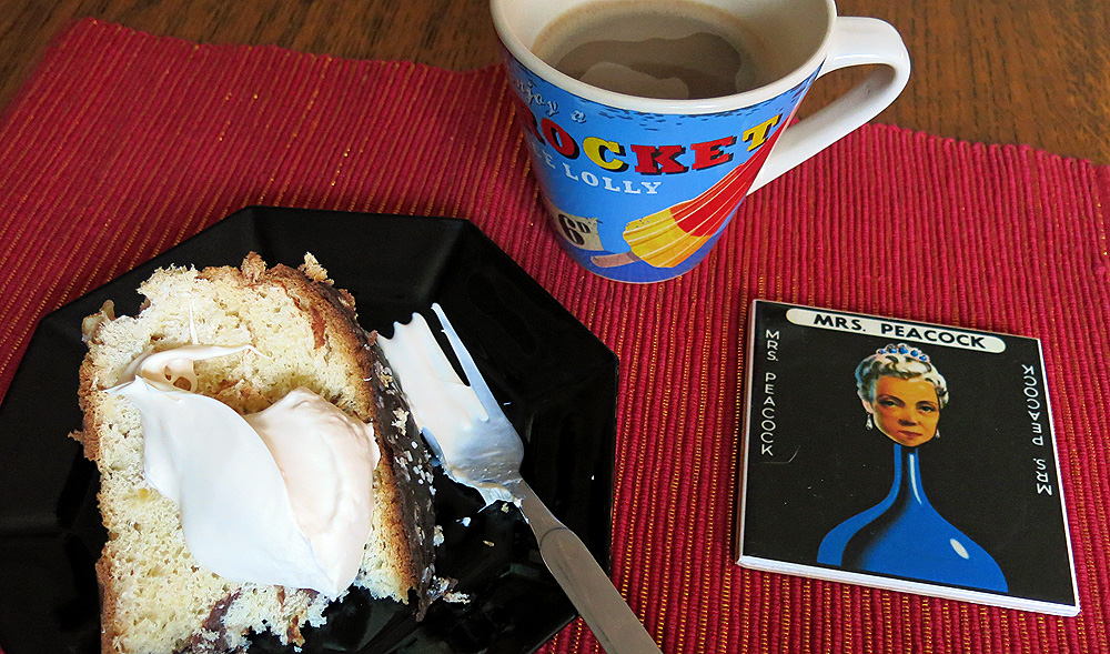 panettone with amaretto cream - Mrs Peacock Cluedo character drinks coaster