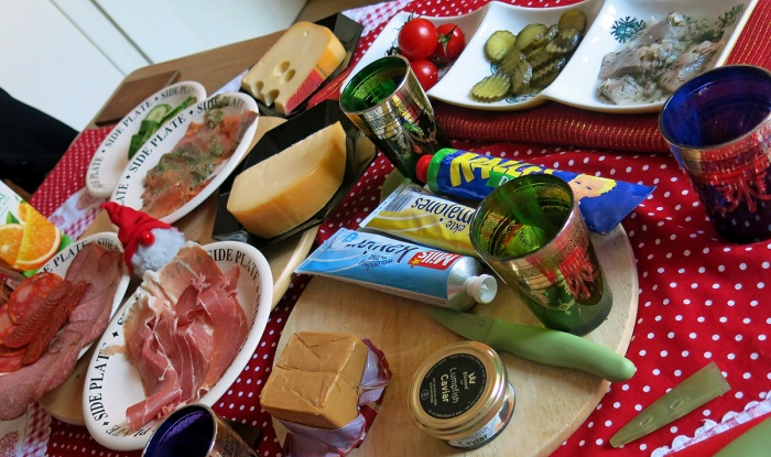 scandinavian style breakfast in England - cold meats cheeses and fish with spreads photo by David J Rodger