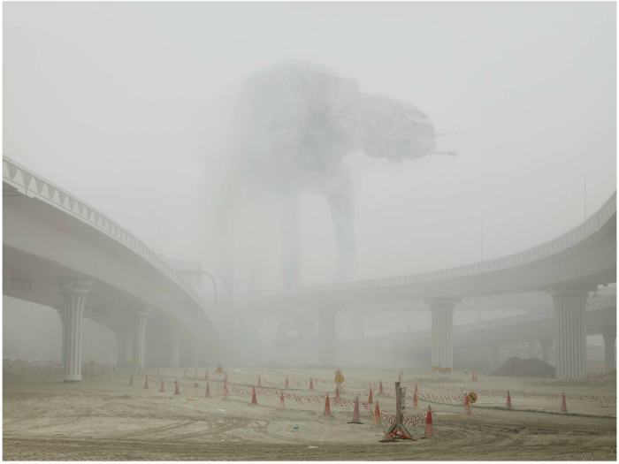 Star Wars AT-AT Walker looming through mist deser dust over motorway - art by cedric delsaux -That Armor's Too Strong for Blasters