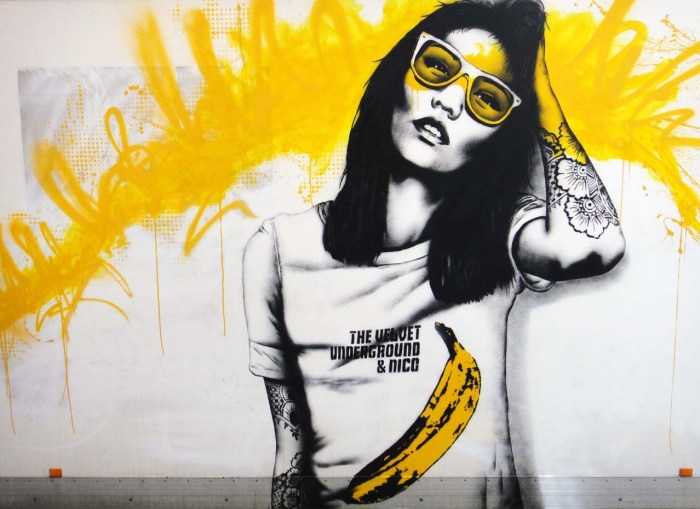 Urban Art by Fin FAC Artistic Director at urban digital art brand Beautiful Crime - London - Pacific Rim Girl Wearing Velvet Underground T Shirt