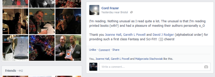 Cord Frazer says nice things about Joanne Hall, Gareth L Powell and David J Rodger - first class Fantasy and Sci-Fi