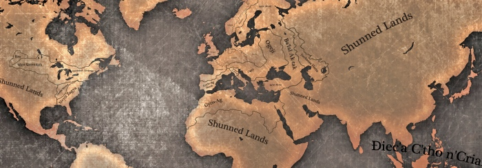 Dragomir - cropped map of human elven and dwarven realms - Dark Fantasy Meets Cthulhu Mythos - a world map source  PSD Graphic