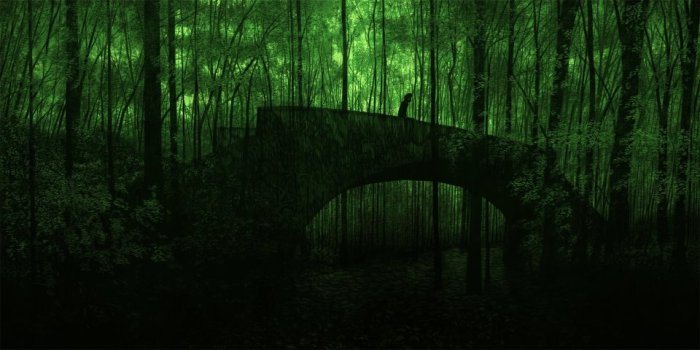 Illustration and Printmaking Daniel Danger - dark beauty of decay - a scene that could be from Lord Armstrong Jesmond Dene stone bridge - spooky forest