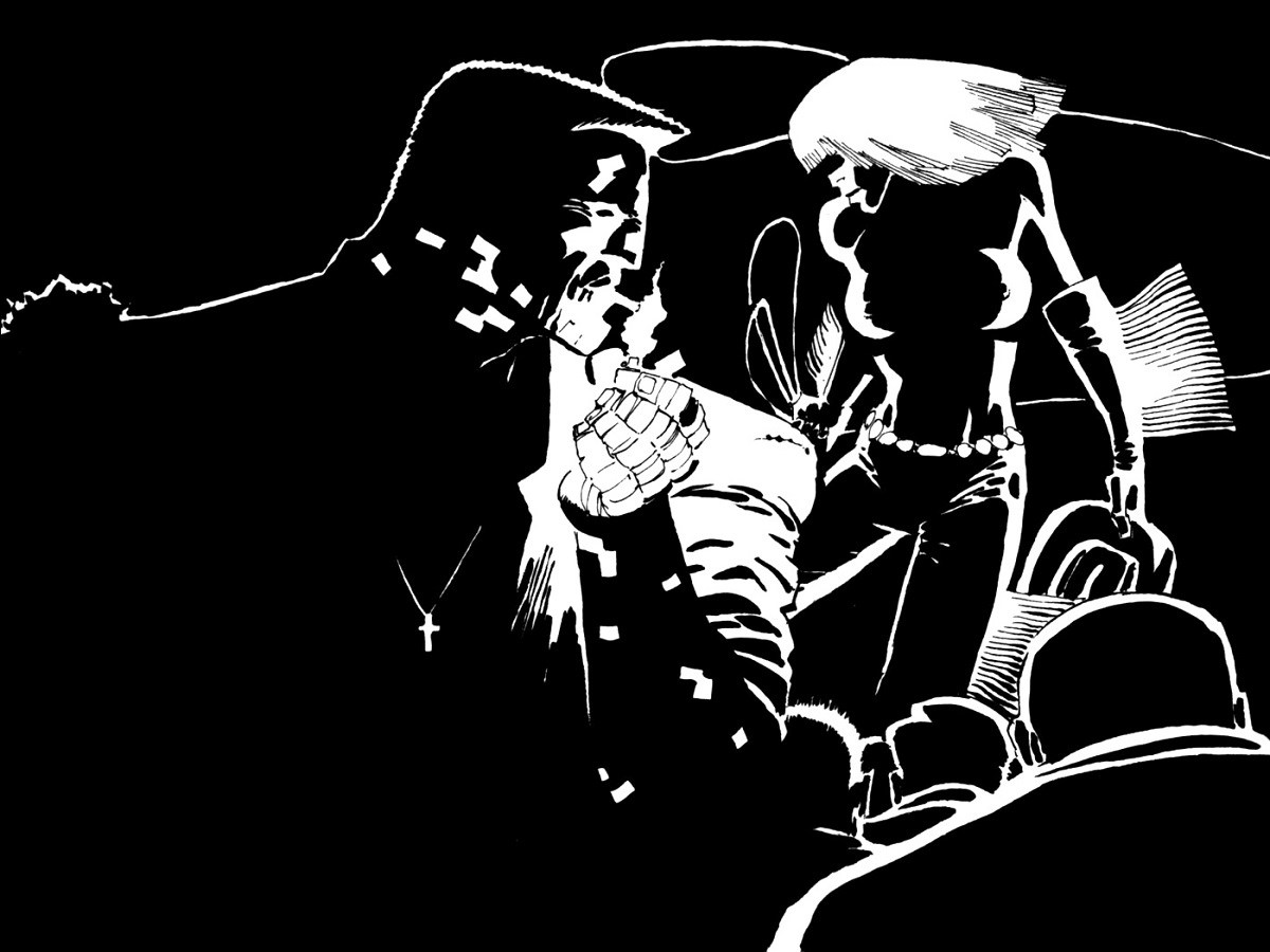 Frank Miller's minimalist approach to detail black and white femme fatale