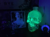 HIAB_X converts a garden shed into creative batchelor pad or Man Cave - glass human skull illuminated by UV light marilyn manson photo