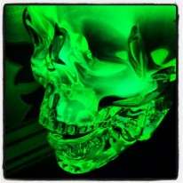 HIAB_X converts a garden shed into creative batchelor pad or Man Cave - glass human skull illuminated by UV light