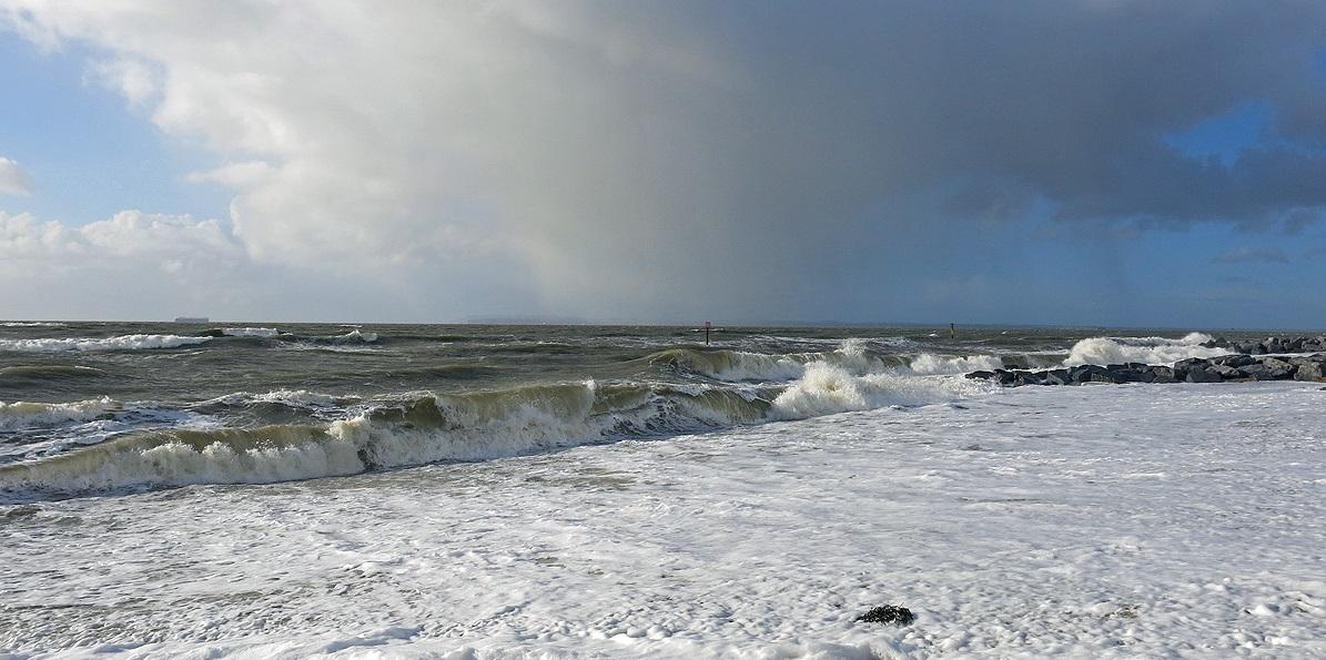 Stormy seas at Hayling Island