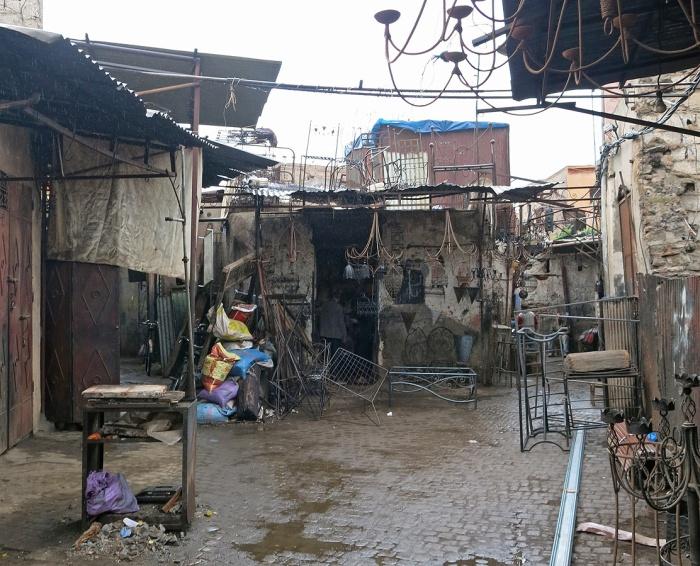 Marrakech souk in the rain