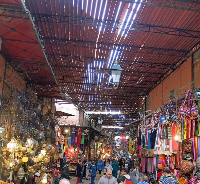 Marrakech souk - view of roof covering alleys