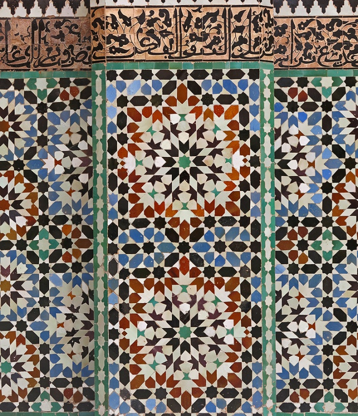 Morocco Marrakech Ben Youssef Medersa detail of mosaic design on walls