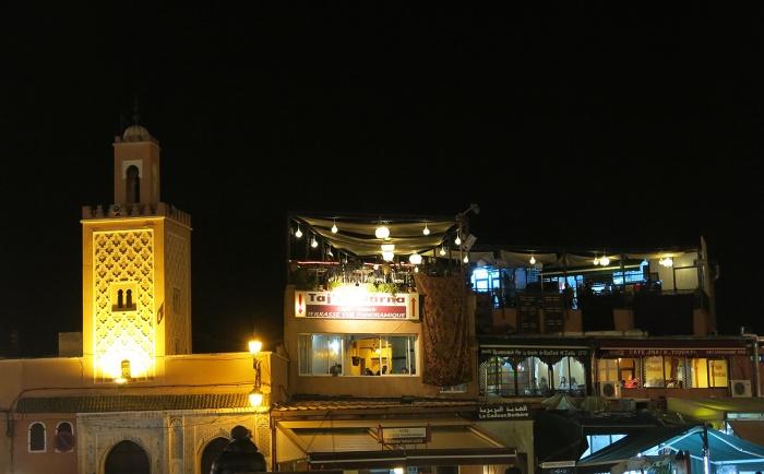 Morocco, Marrakech Cafe overlooking Jemaa el-Fnaa