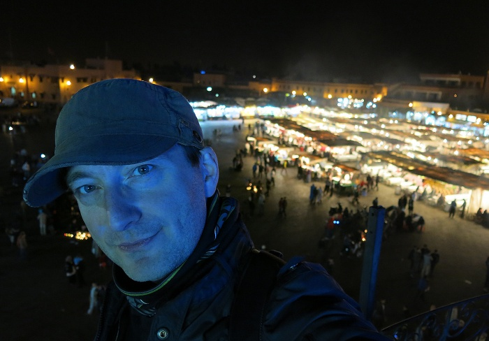 Morocco, Marrakech, David J Rodger above Jemaa el-Fnaa