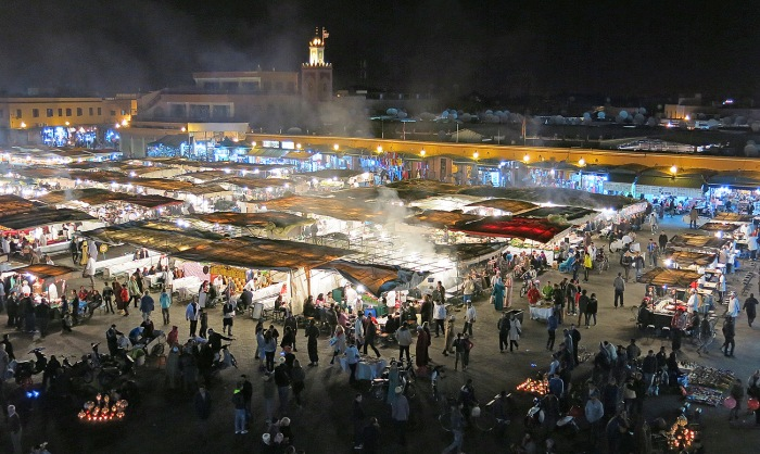 Morocco, Marrakech, incredible night scence of Jemaa el-Fnaa photo by David J Rodger
