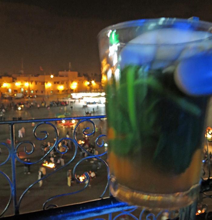 Morocco, Marrakech, mint tea in a cafe overlooking Jemaa el-Fnaa