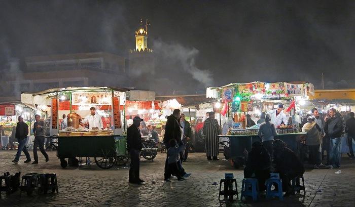 Morocco, Marrakech, night scene in Jemaa el-Fnaa