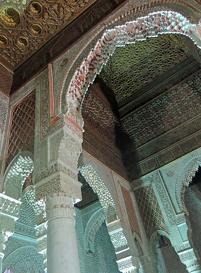 Travel photo Saadian tombs Marrakech - room of 12 columns incredible detail over 400 years old