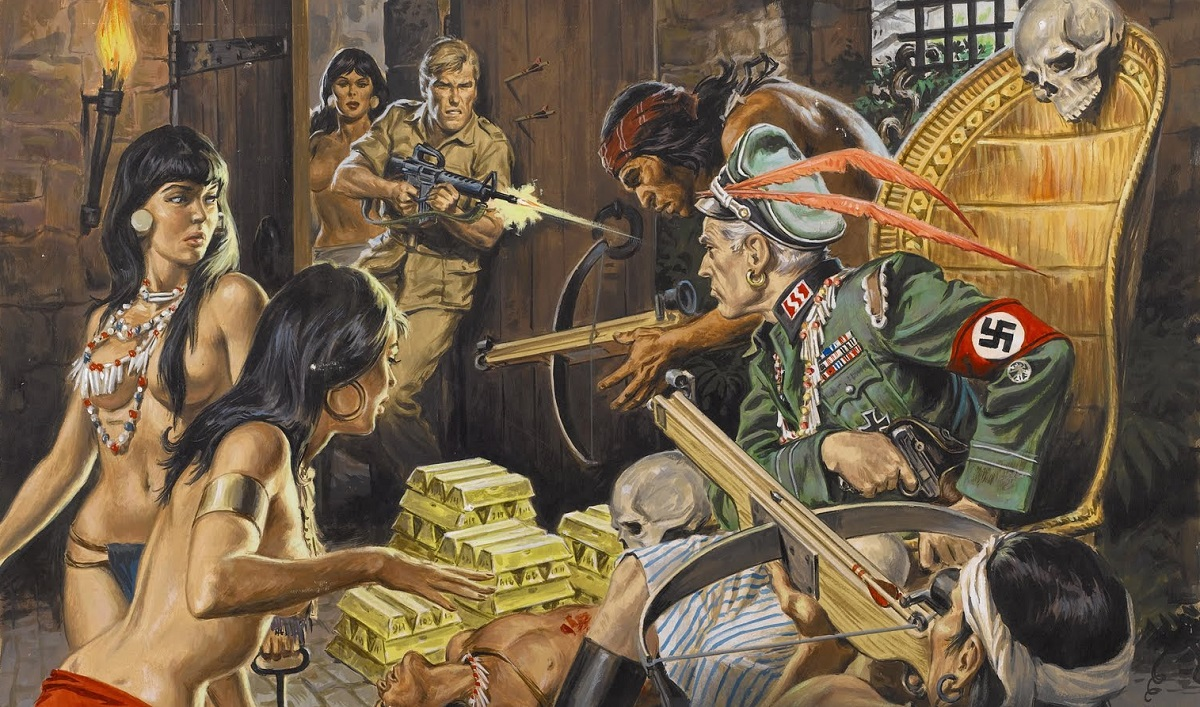 Action for Men pulp magazine with Nazi officer South American women and gold