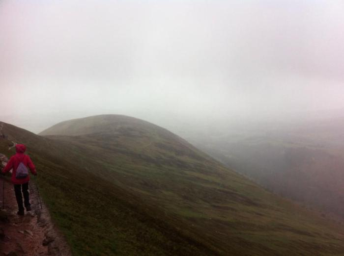 Coming down from summit of Pen Y Fan in high winds and rain