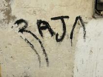 Morocco - Essaouira -RAJA - sort-of street graffiti on wall of old Medina