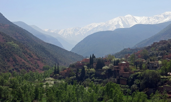 Morocco - foothills of Atlas mountains - stunning view from terrace of Kasbah De La Ourika
