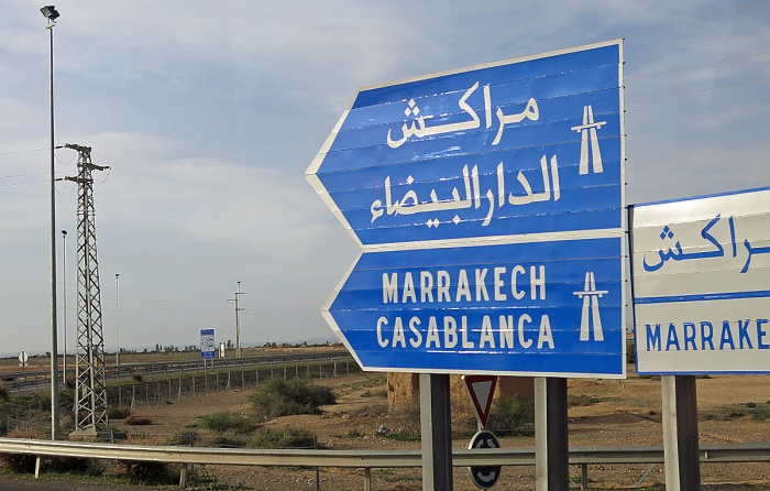 Morocco road sign for Casablanca - photoshop filter used
