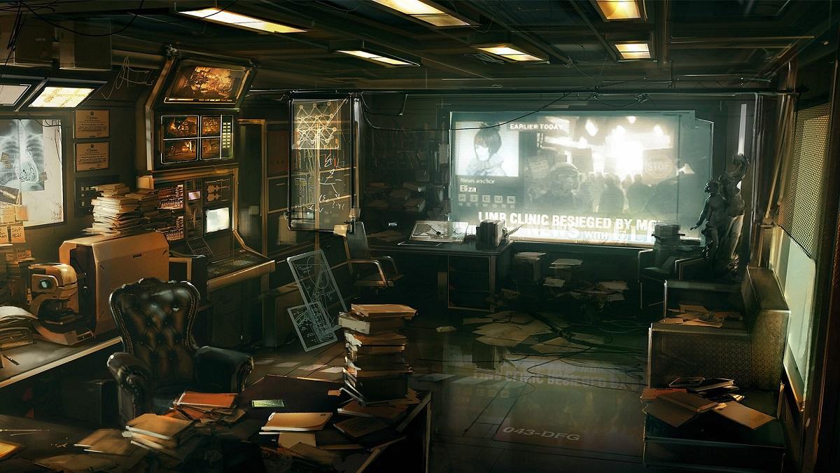 science fiction cyberpunk office work space