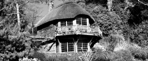 Thatched roof house tucked away in grounds of Dartington Hall