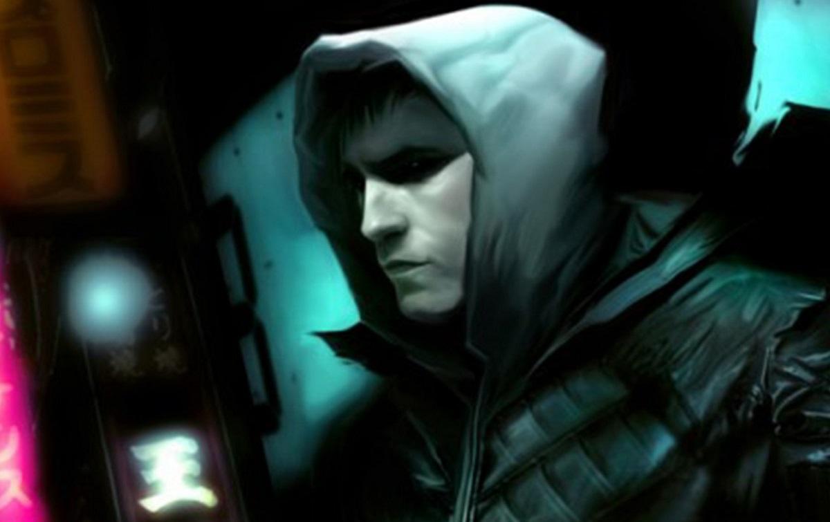man wearing hooded top shadow eyes in cyberpunk setting