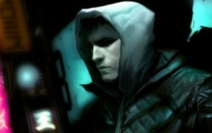 man wearing hooded top shadow eyes in cyberpunk setting