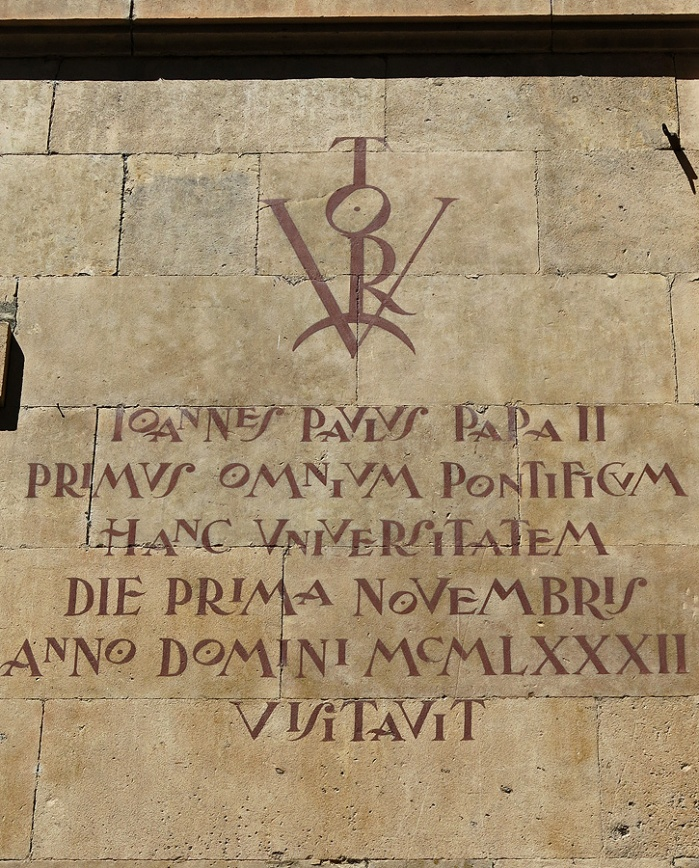 Travel photo Salamanca historical students  wrote VICTORY on the wall so the city