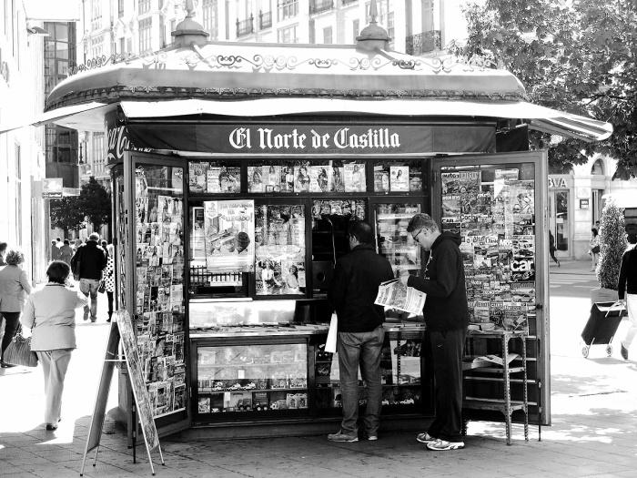 Travel photo - Valladolid Spain - street scene newspaper stall