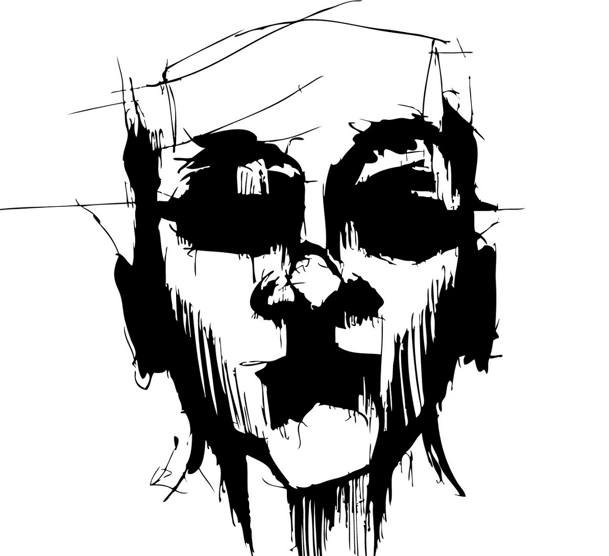 black and white line drawing of horror face - deep shadows for eye sockets