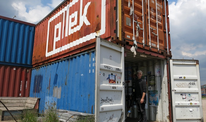 Eat and drink in a post-industrial cyberpunk haven - PLLEK NDSM Amsterdam - Cafe Bar made from shipping containers