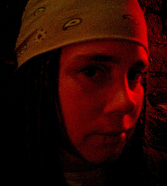 Girl with bandana in red light - Oj - Honey Pot Cafe Christchurch