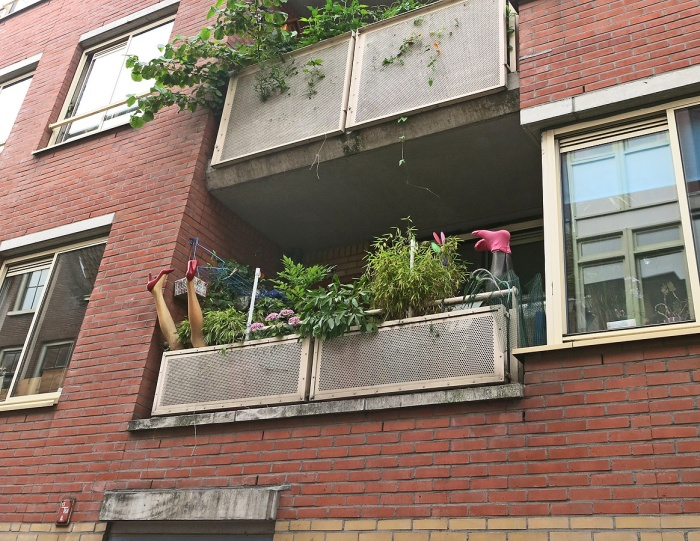 Legs sticking out of apartment balcony Jordaan district Amsterdam