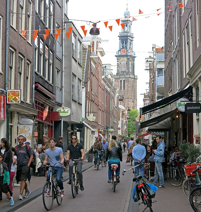 Life in Amsterdam photograph of street scene Jordaan District outside Cafe Tuin