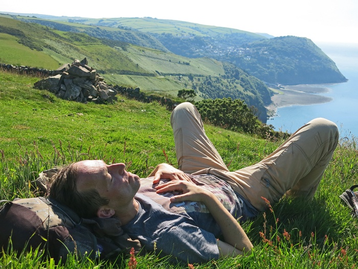 DJR resting after walking from Lynton towards end of headland - stunning views